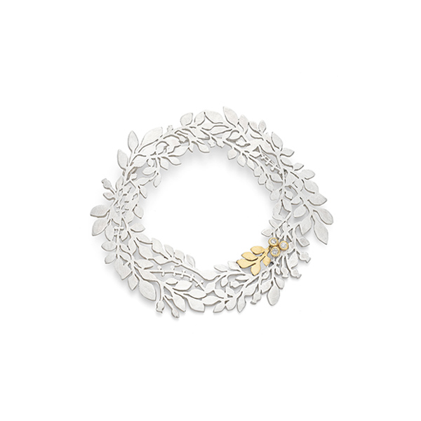 Silver gold and diamond olive branch garland brooch
